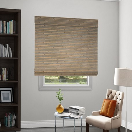 Natural woven flat fold motorized shade for Smith and noble natural woven shades