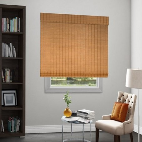 Wendy bellissimo natural woven flat fold motorized shade for Smith and noble natural woven shades