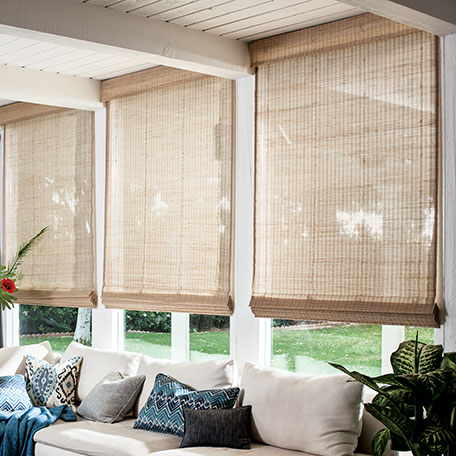 Couture weaves natural woven flat fold shades for Smith and noble bamboo shades