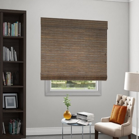 Wendy bellissimo natural woven flat fold shades for Smith and noble bamboo shades