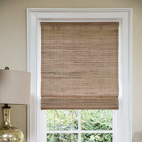 Wendy bellissimo natural woven waterfall shades for Smith and noble shades